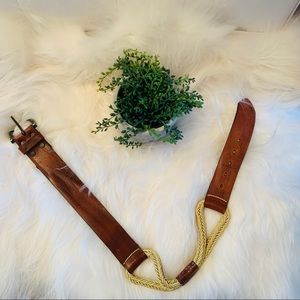Vintage Brave Leather and Rope Belt